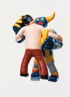 ロボットと戦う男性 フィギア