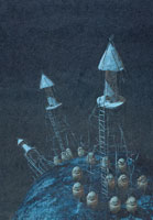 惑星に建つ塔 イラスト 02171010000| 写真素材・ストックフォト・画像・イラスト素材|アマナイメージズ