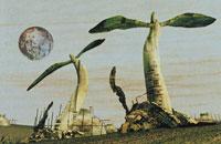 月と地面に生えた芽 イラスト