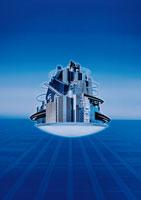 浮かんだ都市(青) CG 02172010005| 写真素材・ストックフォト・画像・イラスト素材|アマナイメージズ