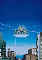 浮かんだ都市(青) CG 02172010008| 写真素材・ストックフォト・画像・イラスト素材|アマナイメージズ