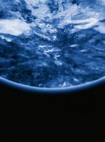 青い惑星(部分)と黒い空間 CG