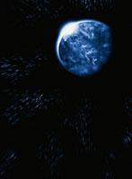 青い惑星(全体)と黒い空間 CG