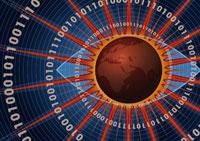 地球の回りの光線と数字 CG