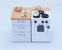 ミニチュアの調理台とオーブン