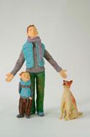 親子と犬 クラフト