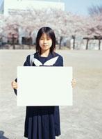 サクラの咲く校庭でメッセージボードを持つ日本人女子学生