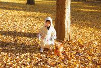 銀杏のじゅうたんで遊ぶ女の子 02208002002| 写真素材・ストックフォト・画像・イラスト素材|アマナイメージズ