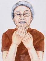 日本人の老人女性 イラスト