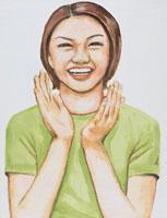 拍手する日本人女性 イラスト