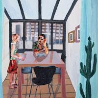窓のある部屋で話す夫婦 コラージュ