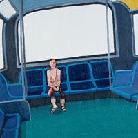 バスの座席に座る女性 コラージュ