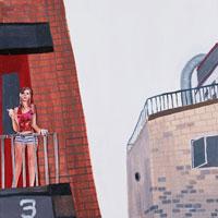 レンガのビルで休息する女性 コラージュ