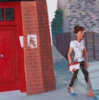路地を歩く女性 コラージュ