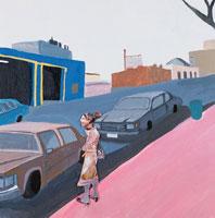 歩道に立つ女性と3台の車 コラージュ