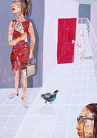 通路にいる3人の女性とハト コラージュ 02218000014| 写真素材・ストックフォト・画像・イラスト素材|アマナイメージズ