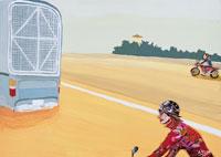 道を走るトラックと2台のバイク コラージュ