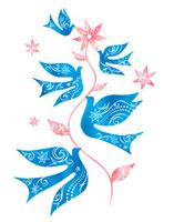 花をくわえる5羽のトリ