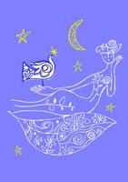 静かな夜の人と鳥 イラスト