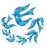 連なって飛ぶ鳥の群れ イラスト 02221000056| 写真素材・ストックフォト・画像・イラスト素材|アマナイメージズ