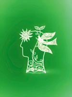 鳩と人の横顔の抽象イメージ
