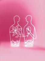 向き合う二人の人物と花のオブジェ 02221000060| 写真素材・ストックフォト・画像・イラスト素材|アマナイメージズ