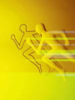 走る人とスピードのオブジェ