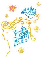人と鳥のイラスト