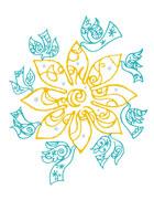 花を囲む鳥たちのイラスト 02221000083| 写真素材・ストックフォト・画像・イラスト素材|アマナイメージズ