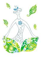 葉と女性のイラスト