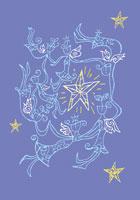 輪になり踊る天使と星のイラスト
