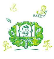 木のまわりで遊ぶこどもたち 02221000090| 写真素材・ストックフォト・画像・イラスト素材|アマナイメージズ