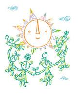 太陽のまわりで手をつなぐこどもたち