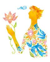 春の花を持つ人のイメージ