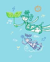 空を飛ぶ親子のイメージ 02221000153| 写真素材・ストックフォト・画像・イラスト素材|アマナイメージズ