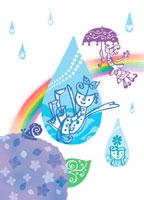 アジサイと虹と親子
