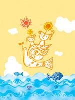 鳥と海と親子のイメージ