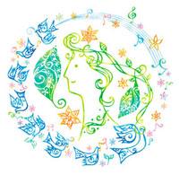 鳥と花と音符と女性