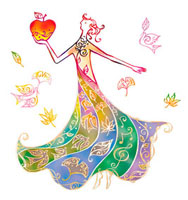リンゴを持つドレスを着た女性