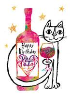 ワイングラスとワインボトルとねこ