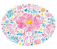 子供たちと花と鳥