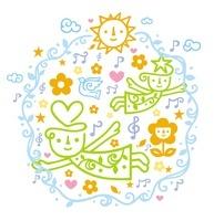 キャラクターと花と鳥と音符
