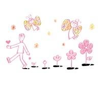 足跡から咲く花と子どもの蝶