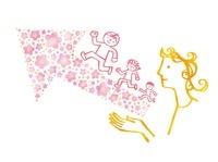 矢印の花とその上を走る子どもたち