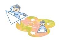紙飛行機を折る子どもと紙飛行機に乗る子ども