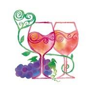 2つのワイングラスとハート、ぶどう