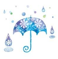青い傘と雨