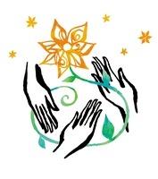 三人の手と花