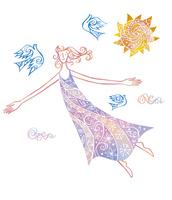 女性と鳥と太陽 02221000254| 写真素材・ストックフォト・画像・イラスト素材|アマナイメージズ