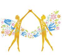 向かい合う人と花と鳥